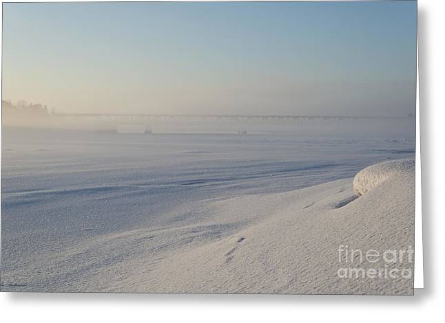 White Greeting Cards - Morning mist in Rovaniemi Greeting Card by Arik Baltinester