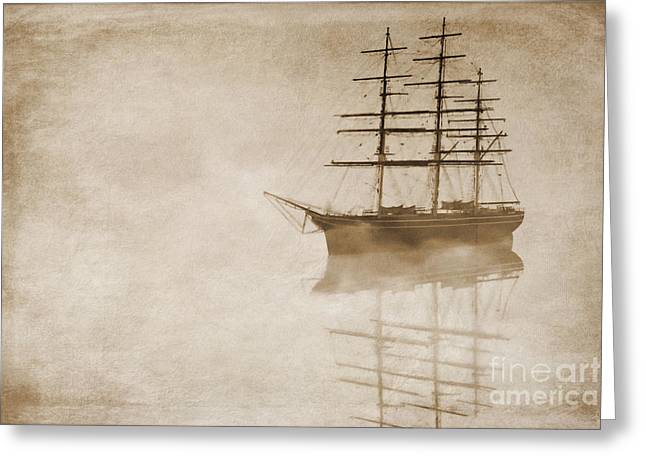 """sailing Ship"" Greeting Cards - Morning mist in sepia Greeting Card by John Edwards"