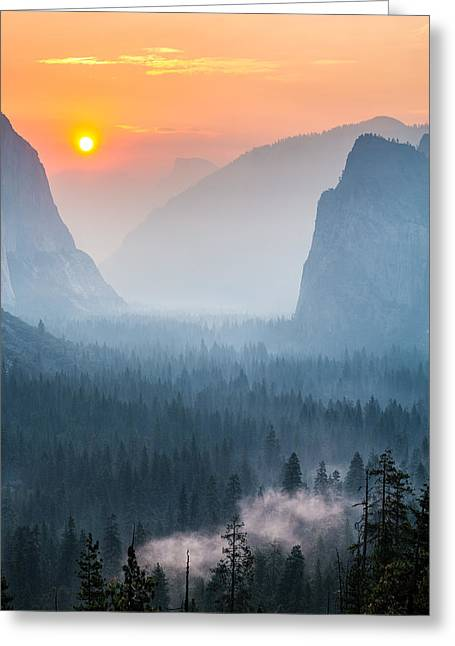 Cathedral Rock Greeting Cards - Morning Mist in the Valley Greeting Card by Mike Lee