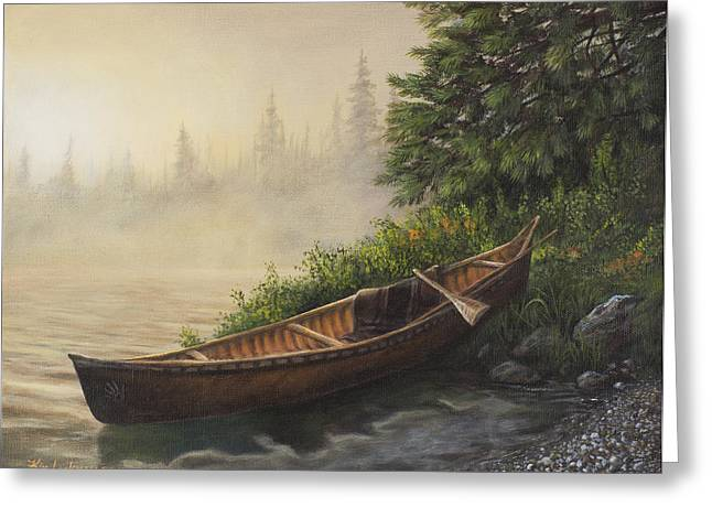 Canoe Greeting Cards - Morning Mist Greeting Card by Kim Lockman