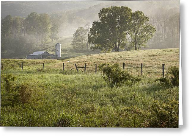 Farm House Greeting Cards - Morning Mist Greeting Card by Mike Lang