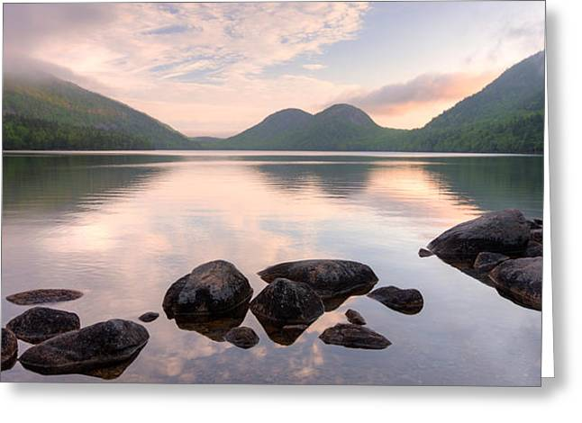 Jordan Photographs Greeting Cards - Morning Mist On Jordan Pond, Acadia Greeting Card by Panoramic Images