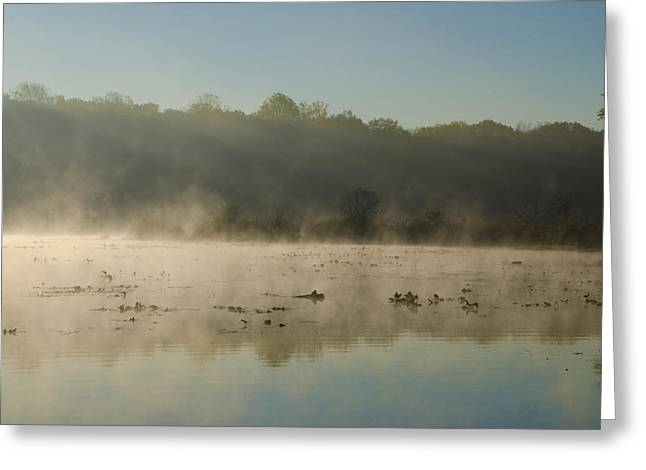 Morning Mist On Lake Towhee Greeting Card by Bill Cannon
