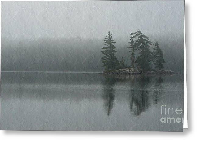 Eerie Greeting Cards - Morning Mist on Maggie Lake Greeting Card by Chris Sotiriadis
