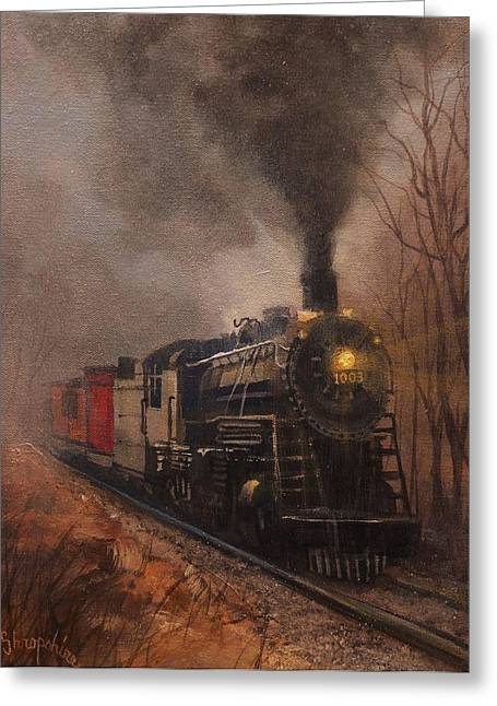 Steam Locomotive Greeting Cards - Morning Mist Soo Line 1003 Greeting Card by Tom Shropshire
