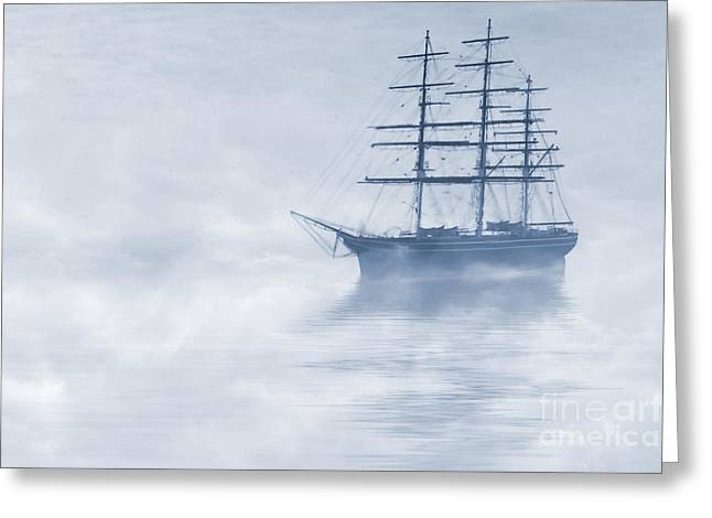 """sailing Ship"" Greeting Cards - Morning Mists Cyanotype Greeting Card by John Edwards"