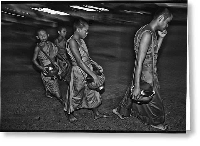 Monk-religious Occupation Greeting Cards - Morning Monks Greeting Card by David Longstreath