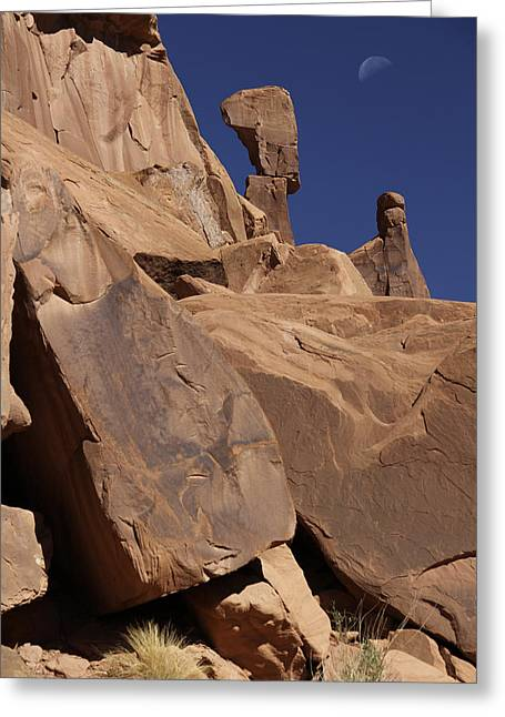 Arches National Park Greeting Cards - Morning Moon at Arches  Greeting Card by Mike McGlothlen