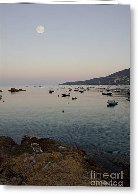Sea Moon Full Moon Greeting Cards - Morning Moon Greeting Card by Sophie De Roumanie