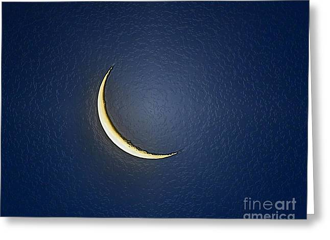 Luna Greeting Cards - Morning Moon Textured Greeting Card by Al Powell Photography USA