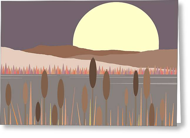 Minimalist Landscape Greeting Cards - Morning Moon Greeting Card by Val Arie