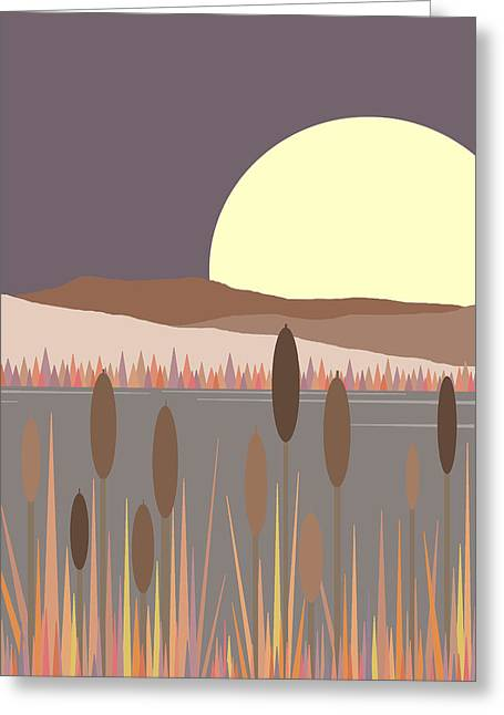 Morning Moon Greeting Card by Val Arie