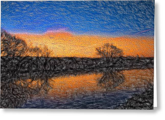 Reflections In River Digital Art Greeting Cards - Morning October 1 IMPR 31 2014- A Cold Morning No Clouds Greeting Card by Leif Sohlman