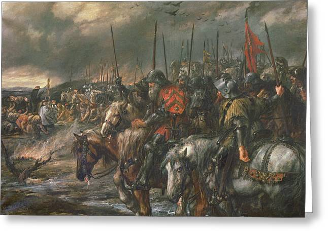 Morning Of The Battle Of Agincourt, 25th October 1415, 1884 Oil On Canvas Greeting Card by Sir John Gilbert