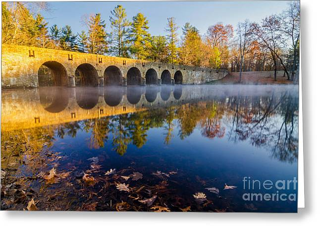 Old Rock Buildings Greeting Cards - Morning on Byrd Creek Dam Greeting Card by Anthony Heflin