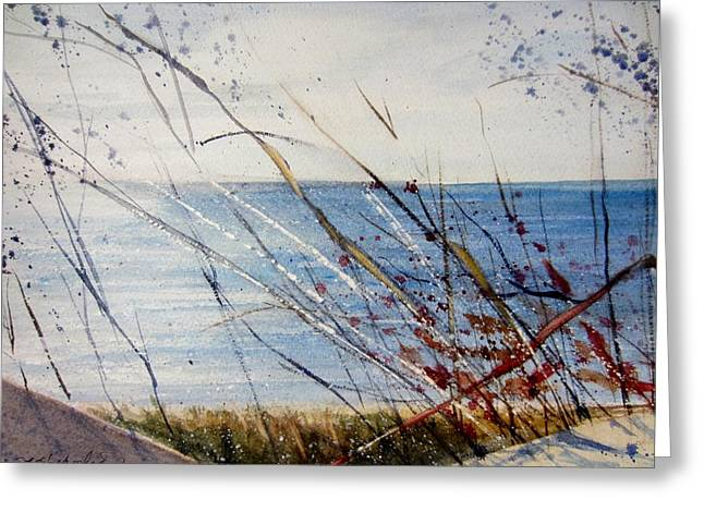 Sand Dunes Paintings Greeting Cards - Morning on Lake Michigan Greeting Card by Sandra Strohschein