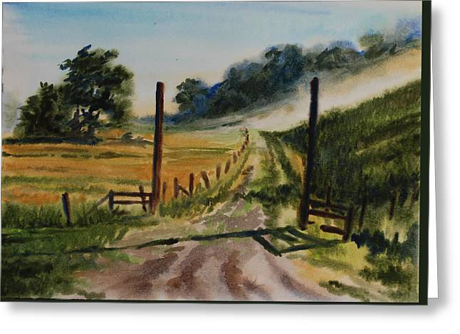 Wet Into Wet Watercolor Greeting Cards - Morning on the farm Greeting Card by Heidi E  Nelson