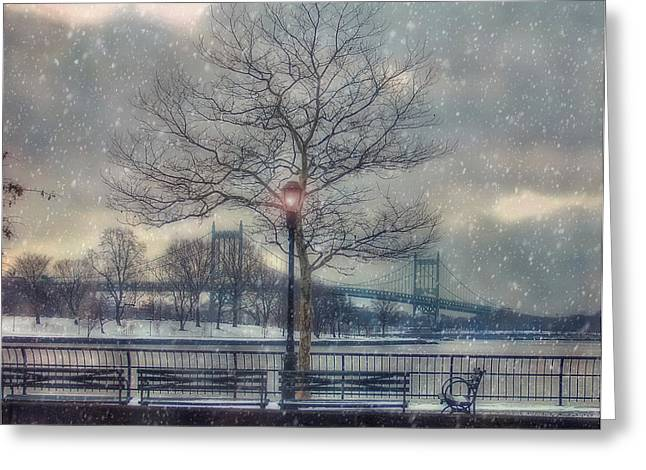 Snow Scene Landscape Greeting Cards - Morning on the Triborough Greeting Card by Joann Vitali