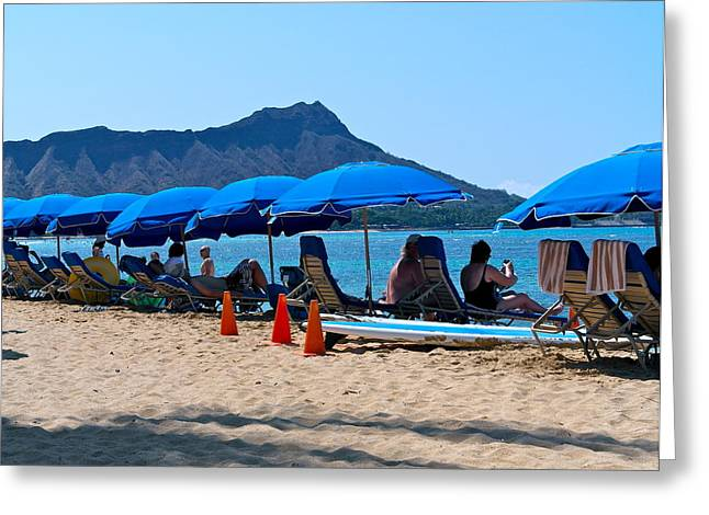 Chaise Greeting Cards - Morning On Waikiki Beach Greeting Card by Michele Myers