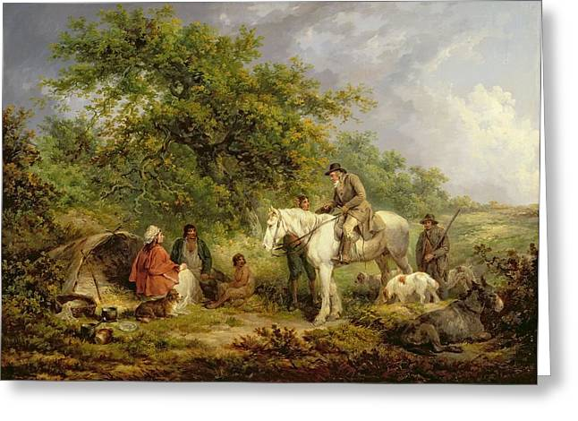 Impoverished Greeting Cards - Morning, Or The Benevolent Sportsman Greeting Card by George Morland