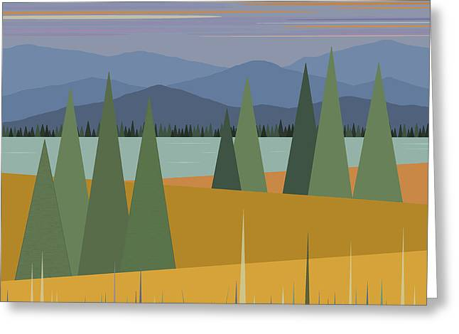 Minimalist Landscape Greeting Cards - Morning Pastels Greeting Card by Val Arie