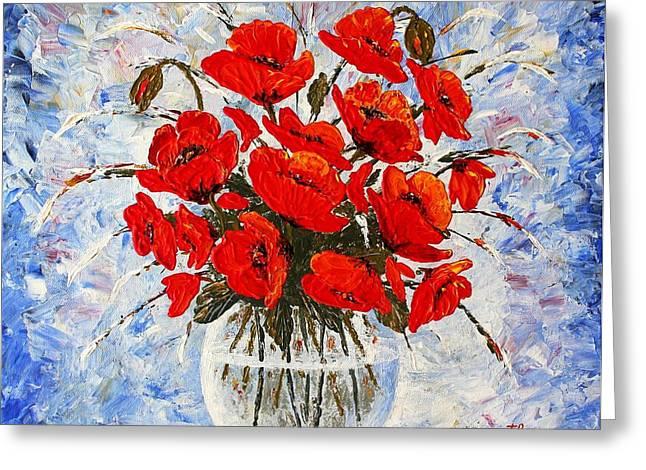 Glass Vase Greeting Cards - Morning Red Poppies original palette knife painting Greeting Card by Georgeta Blanaru