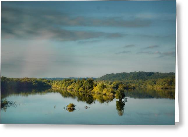Tennessee River Greeting Cards - Morning Reflection on The Tennessee River Greeting Card by Jai Johnson