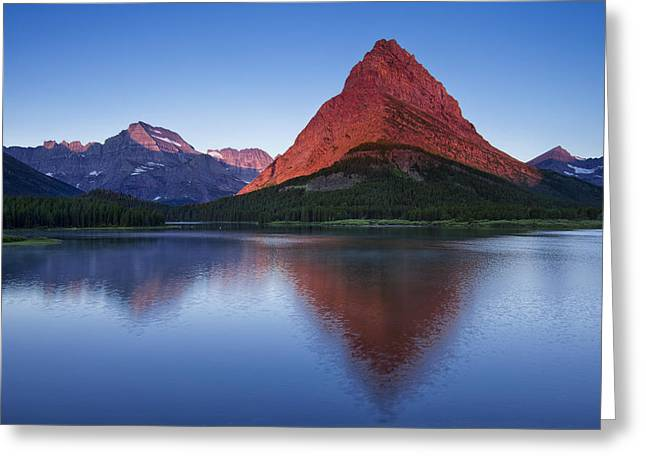 Many Glacier Greeting Cards - Morning Reflections Greeting Card by Andrew Soundarajan