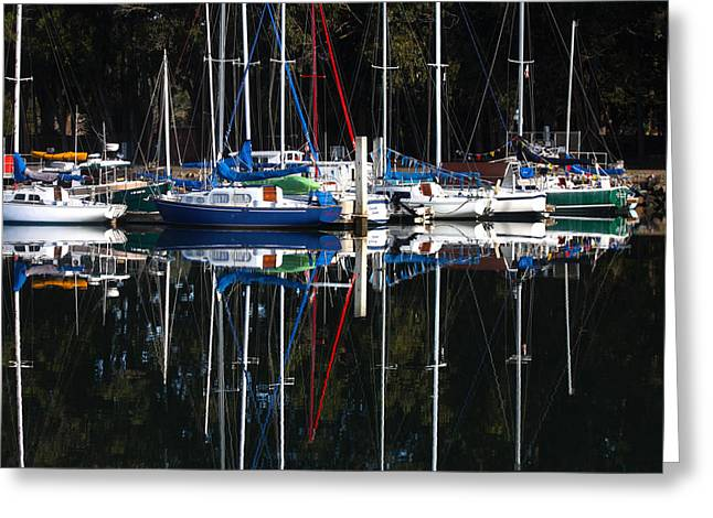 Morro Bay Harbor Image Greeting Cards - Morning Reflections Greeting Card by Art Block Collections