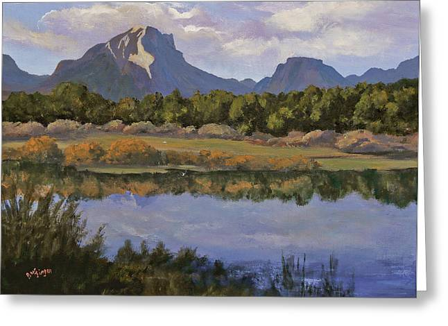 Park Scene Paintings Greeting Cards - Morning Reflections Greeting Card by Bev Finger