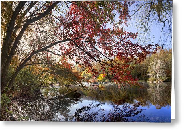Oak Creek Greeting Cards - Morning Reflections Greeting Card by Debra and Dave Vanderlaan