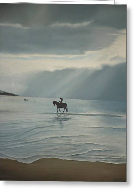 Recently Sold -  - Sea Horse Greeting Cards - Morning Ride Greeting Card by Caroline Philp