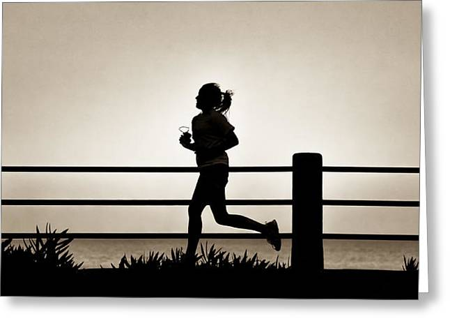 Recently Sold -  - Jogging Greeting Cards - Morning Run Greeting Card by David Kay