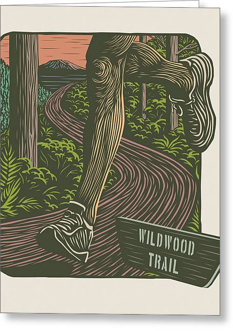 Linocut Greeting Cards - Morning Run on The Wildwood Trail Greeting Card by Mitch Frey