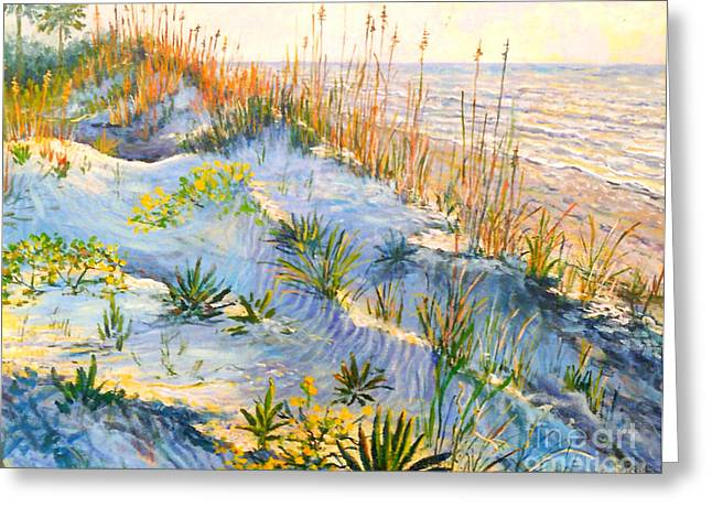 Sand Dunes Paintings Greeting Cards - Morning Sand Dunes Greeting Card by Lou Ann Bagnall