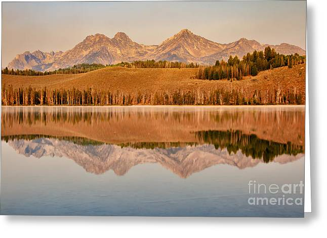 Haybale Greeting Cards - Morning Sawtooth Reflections Greeting Card by Robert Bales