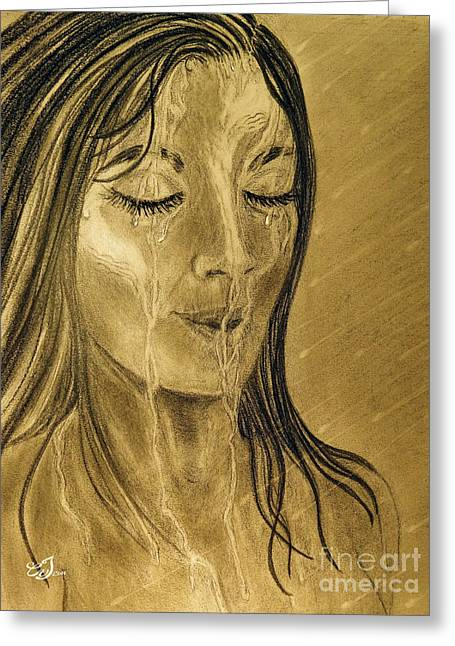 Drop Drawings Greeting Cards - Morning Shower Greeting Card by Music of the Heart
