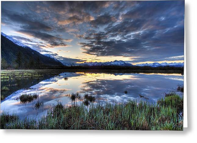 Hdr Landscape Greeting Cards - Morning Sky Reflecting On A Pond Near Greeting Card by Carl Johnson