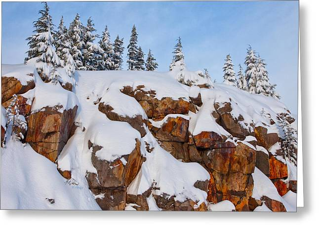 Winter Scene Photographs Greeting Cards - Morning Snow Greeting Card by Darren  White