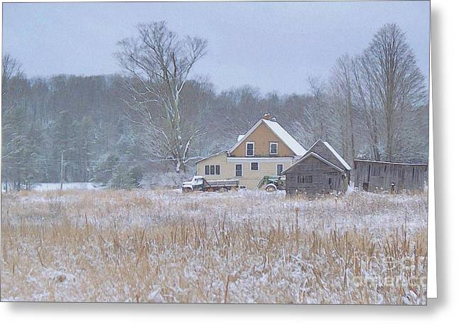 Maine Farms Greeting Cards - Morning Snow Greeting Card by Joy Nichols
