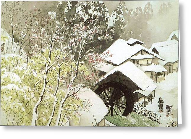 Japan Village Greeting Cards - Morning Snow Greeting Card by Pg Reproductions