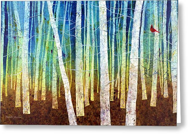 Cardinals Greeting Cards - Morning Song I Greeting Card by Hailey E Herrera