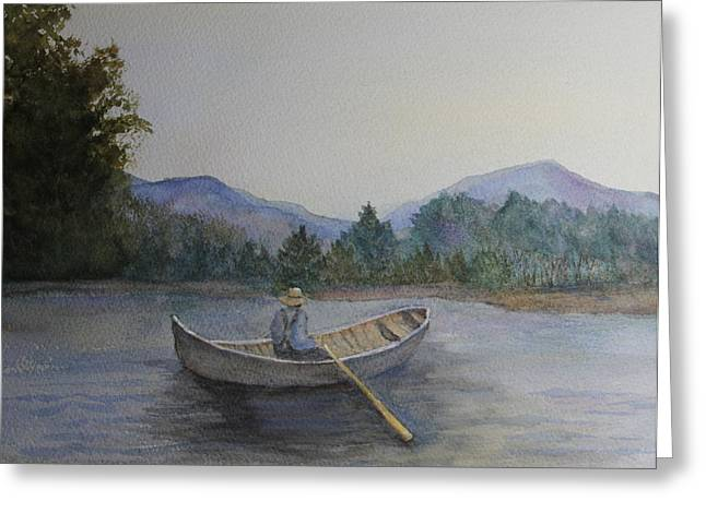 Canoe Greeting Cards - Morning Stillness Greeting Card by Jan Cipolla