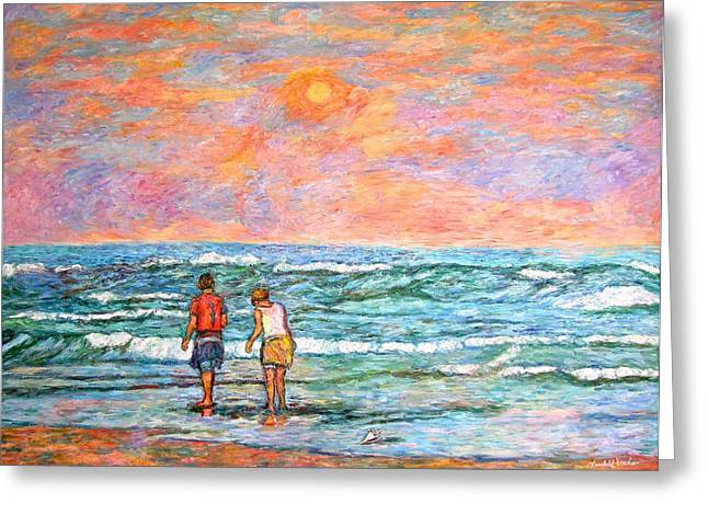 Impressionist Greeting Cards - Morning Stroll at Isle of Palms Greeting Card by Kendall Kessler