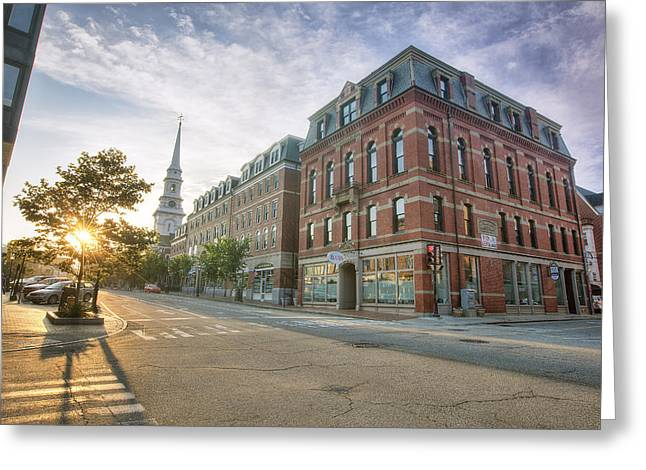 Clocktower Greeting Cards - Morning Stroll Greeting Card by Eric Gendron