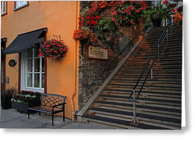 Champlain Greeting Cards - Morning Stroll on Rue du Petit Champlain Greeting Card by Juergen Roth