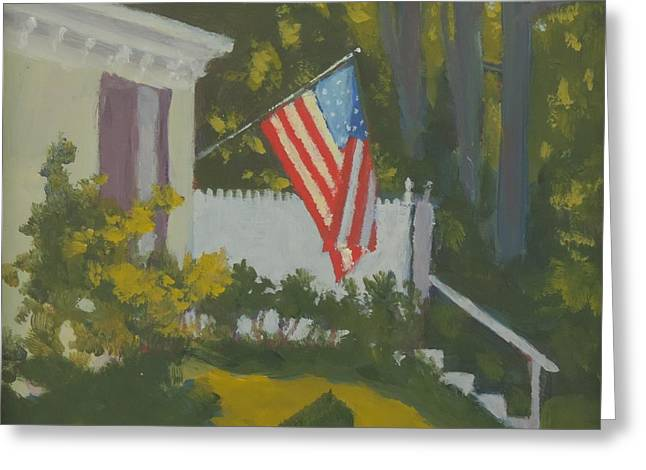 Old Maine Houses Greeting Cards - Morning Sun on Old Glory Greeting Card by Bill Tomsa
