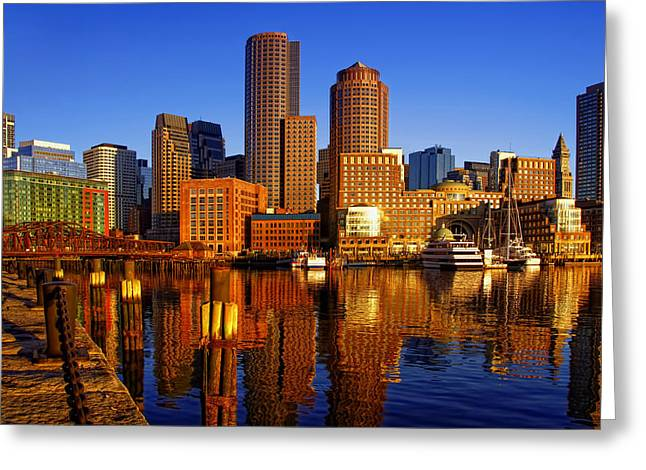 Fan Pier Greeting Cards - Morning Sun on the Harbor Greeting Card by Joann Vitali