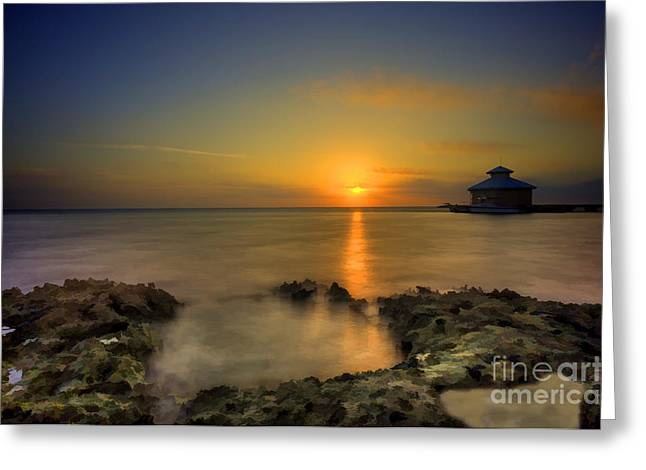 Morning sun rising in the Grand Caymans Greeting Card by Dan Friend