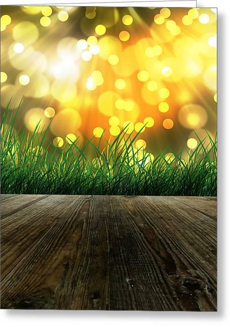 Component Digital Art Greeting Cards - Morning Sunlight Greeting Card by Pimpisan Petch